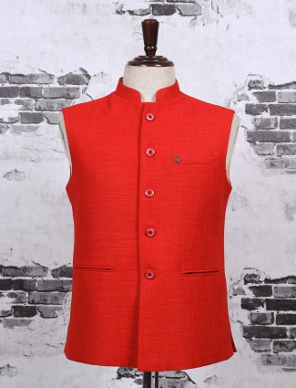 Solid red color mans waistcoat