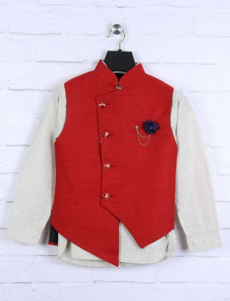 Solid red color waistcoat set fot boys