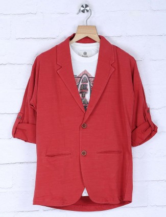 Solid red colored cotton blazer