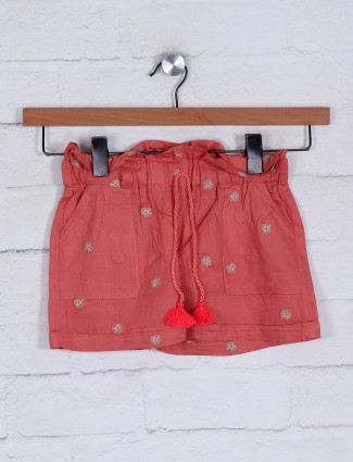 Solid red cotton girls shorts