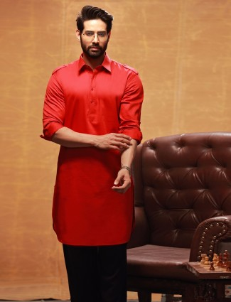 Solid red cotton pathani suit