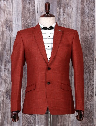 Solid red hue party wear blazer