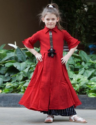 Solid red hue punjabi palazzo suit for girls