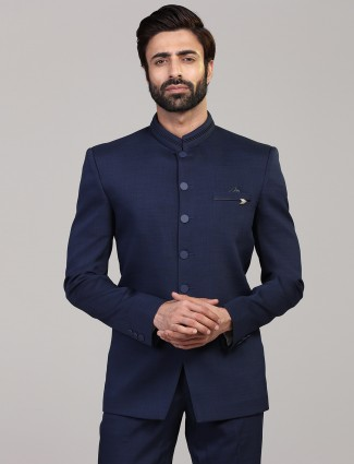 Solid royal blue jodhpuri blazer in terry rayon