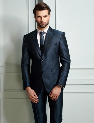 Solid royal blue terry rayon mens coat suit