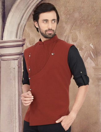 Solid rust orange festive wear cotton waistcoat