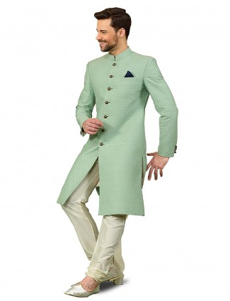 Solid sea green hued wedding wear sherwani