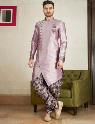Solid violet color kurta suit for party function