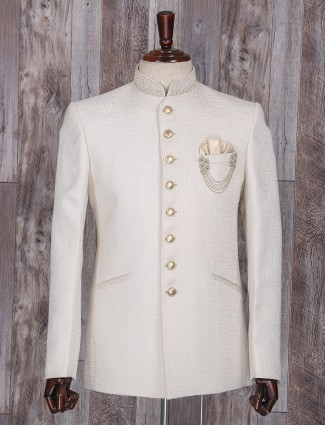 Solid wedding wear cream jodhpuri suit