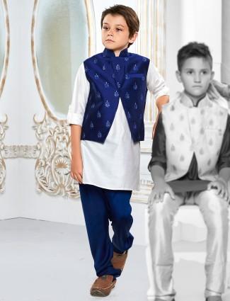 Solid white color boys waistcoat set
