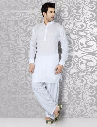 Solid white cotton attractive festive wear pathani suit