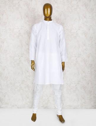 Solid white cotton kurta suit