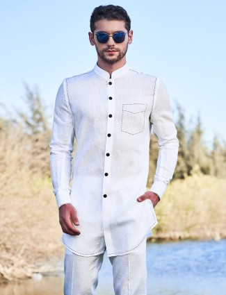 Solid white cotton only kurta