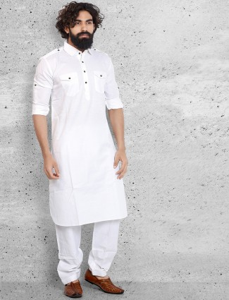 Solid white cotton smart pathani suit