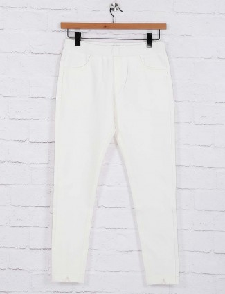 Solid white hue womens jeggings