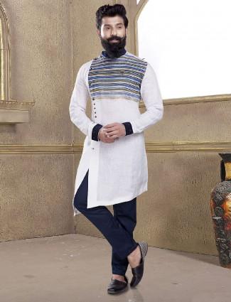 Solid white kurta suit for festive
