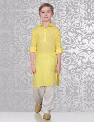 Solid yellow cotton festive wear pathani suit