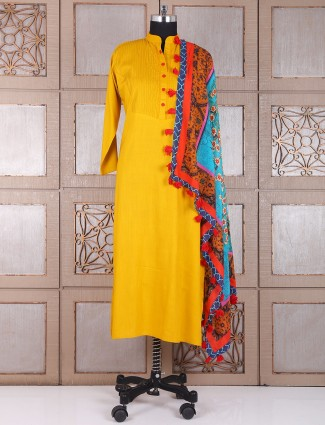 Solid yellow festive wear salwar suit