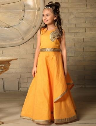Solid yellow silk designer gown
