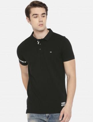 Spykar black polo t-shirt