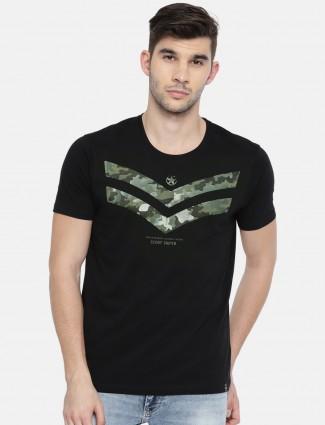 Spykar black printed t-shirt