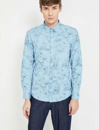 Spykar blue color printed cotton shirt