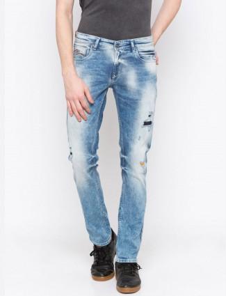 Spykar blue ripped pattern jeans