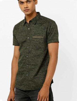 Spykar green camouflage pattern shirt