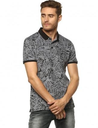 Spykar grey printed slim fit t-shirt