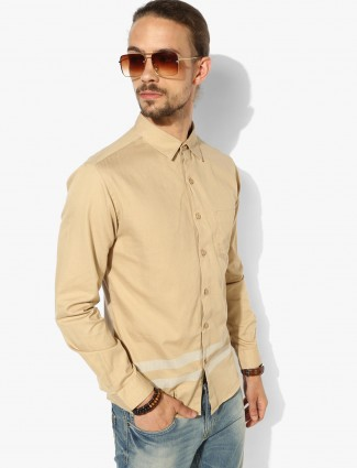 Spykar khakhi hue slim fit shirt