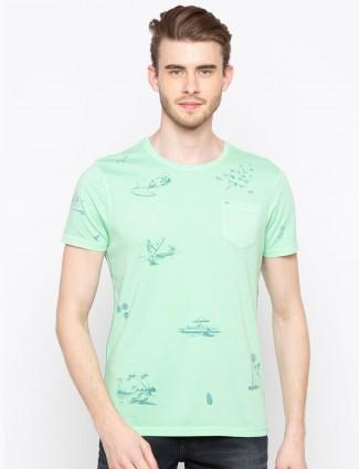 Spykar light green printed t-shirt