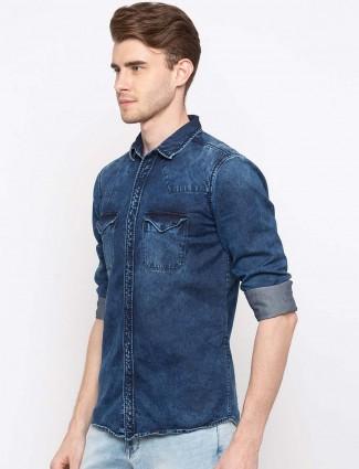 Spykar navy hued denim shirt