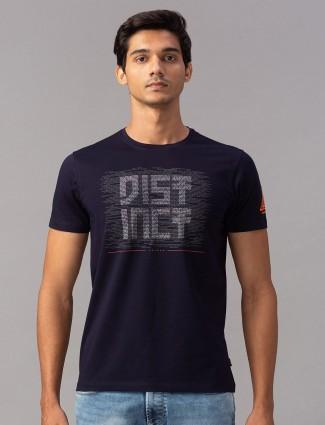 Spykar navy mens printed t-shirt