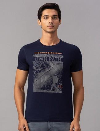 Spykar navy printed sober t-shirt