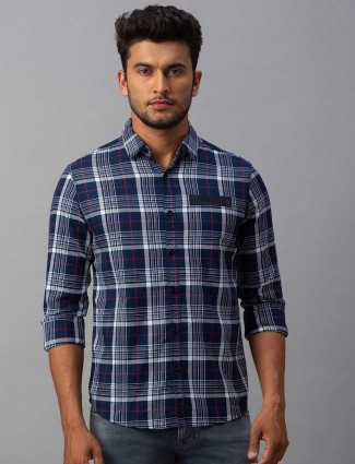Spykar navy tweed pattern cotton shirt