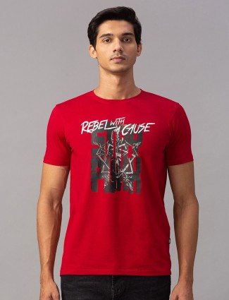 Spykar printed casual wear red t-shirt