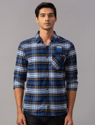 Spykar royal blue patch pocket casual shirt