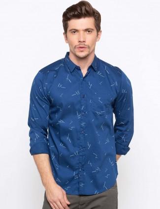 Spykar royal blue printed shirt