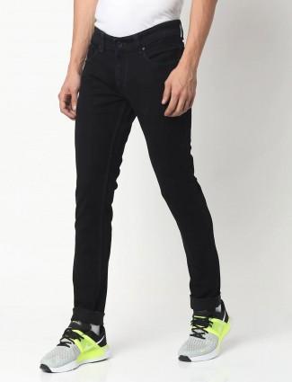 Spykar skinny fit solid black casual jeans