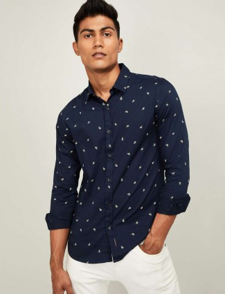 Spykar slim fit navy printed shirt