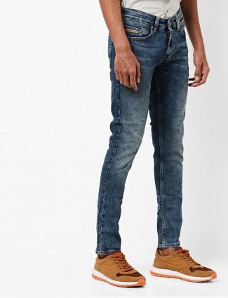 Spykar slim fit solid blue color jeans