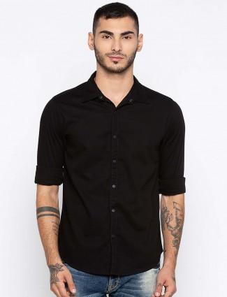 Spykar solid black cotton shirt