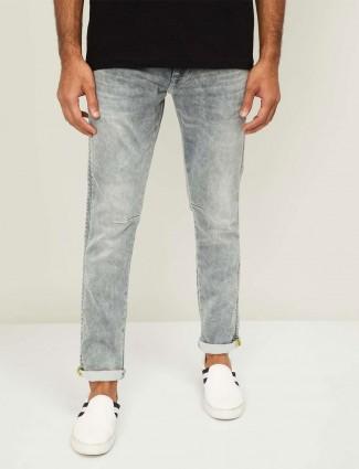 Spykar solid grey skinny fit jeans