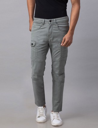 Spykar solid grey slim fit casual wear jeans