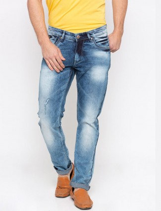 Spykar solid washed blue jeans
