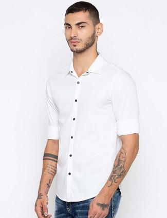 Spykar solid white color shirt