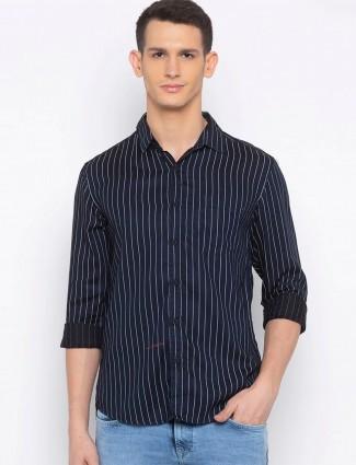Spykar stripe navy full sleeves shirt