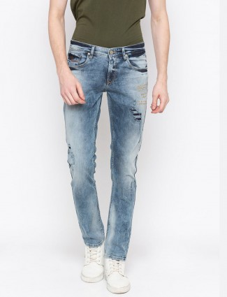 Spykar washed blue ripped jeans
