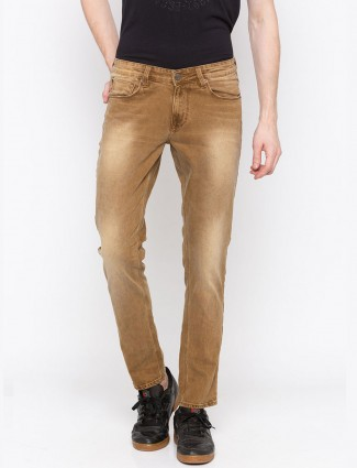 Spykar washed brown colored jeans