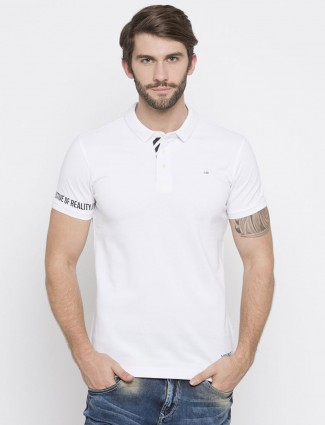 Spykar white solid t-shirt